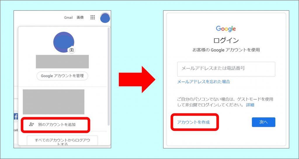 Googleトップページからアカウント作成までのキャプチャ