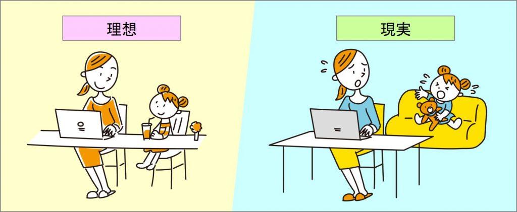 子供と一緒にパソコンをしている理想像と、パソコンをしている後ろで子供が泣いている現実の図