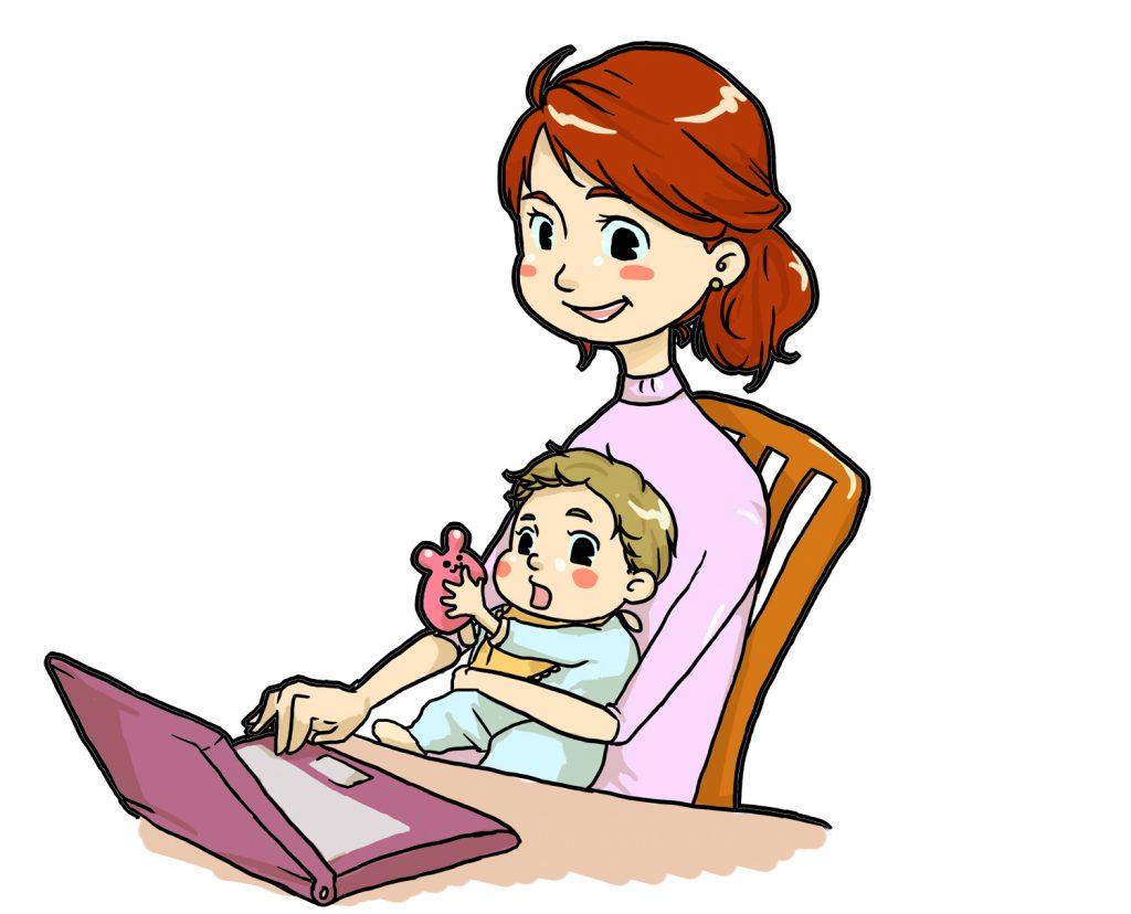 赤ちゃんを抱いてパソコンに向かう女性のイラスト